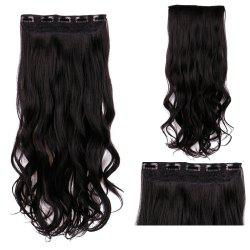Clip In Long Wavy Synthetic Hair Extension - BLACK