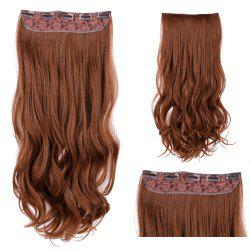 Clip In Long Wavy Synthetic Hair Extension - LIGHT BROWN