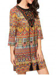 Tassel Drawstring Mini Print Behemian Dress - COLORMIX