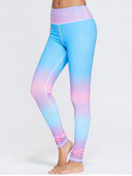 Rainbow Printed Ombre Gym Leggings - BLUE XL
