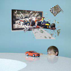 3D Racing Car Broken Wall Sticker For Children Room