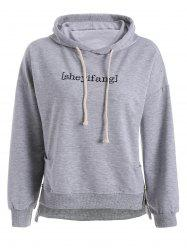 Drop Shoulder High Low Embroidered Plus Size Hoodie - LIGHT GRAY