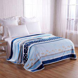 Stripe Star Fish Printed Throw Blanket - BLUE STRIP PATTERN DOUBLE
