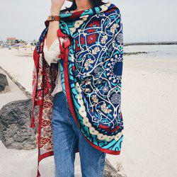 Ethnic Floral Totem Printing Retro Tassels Scarf