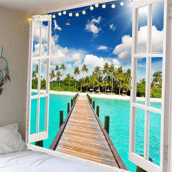 Coconut Trees Wooden Bridge Waterproof Wall Tapestry - GREEN W59 INCH * L59 INCH