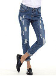 Cuffed Ripped Boyfriend Jeans - BLUE