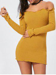 Off The Shoulder Mini Sweater Dress - YELLOW