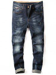 Zipper Fly Straight Cuffed Jeans