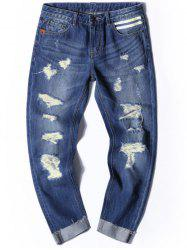 Cuffed Distressed Nine Minutes of Jeans -