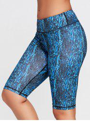 Abstract Printed Tight Workout Shorts - BLUE S