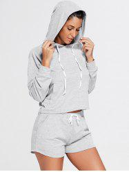 Front Pocket Hoodie and Sports Drawstring Shorts - GRAY