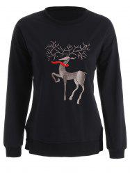 Plus Size High Low Elk Embroidered Top - BLACK 2XL