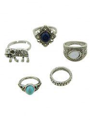 5 PCS Bohemia Elephant Faux Gem Rings
