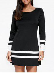 Long Sleeve Two Tone Tee Dress - BLACK