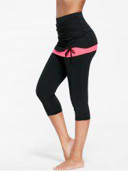 Shirred Two Tone Skirted Capris - FLUORESCENT PINK L
