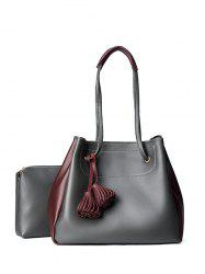 Colour Block Tassels Shoulder Bag Set - DEEP GRAY