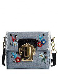 Denim Rivets Embroidered Crossbody Bag