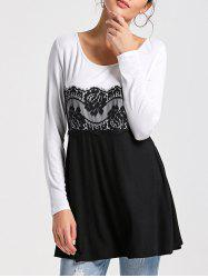 Lace Insert Long Sleeve Tunic Top