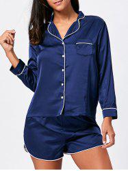 Satin Sleep Shirt with Shorts Set - DEEP BLUE