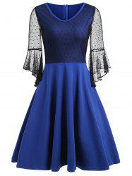 Mesh Panel Bell Sleeve Skater Dress