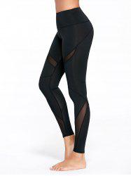 High Waisted Mesh Panel Workout Leggings - BLACK