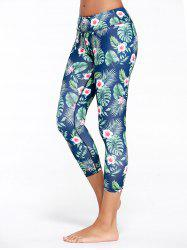 Tropical Floral Printed Capri Fitness Leggings - GREEN
