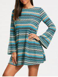 Zigzag Print Long Sleeve Tunic Dress