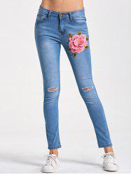 Skinny Embroidery Distressed Jeans