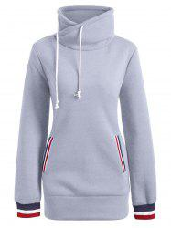 Mock Neck Pocket Drawstring Long Hoodie - Gris L
