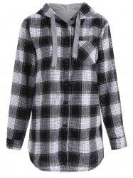 Button Up Pocket Plaid Plus Size Hoodie - GRAY