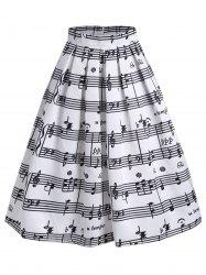 Music Notes High Waisted Midi Skirt - WHITE