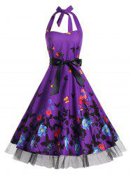 Vintage Butterfly Print Halter A Line Dress - DEEP PURPLE