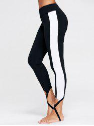 Sports Color Block Stirrup Leggings - BLACK