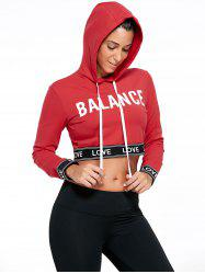 Balance Letter Graphic Sports Crop Hoodie