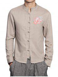 Mandarin Collar Cotton Linen Floral Embroidered Shirt - DARK KHAKI 5XL