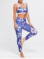 U Neck Stars Printed Bra and Sports Leggings