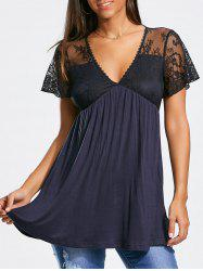 Short Lace Sleeve Empire Waist Tunic T-shirt - DEEP BLUE