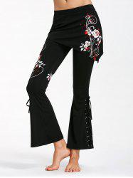 Criss Cross Bottom Flower Print Flare Pants