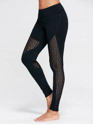 Zigzag Sheer Mesh Panel Workout Leggings - BLACK L