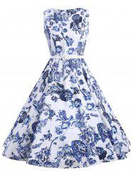 Vintage Floral Sleeveless A Line Dress - FLORAL