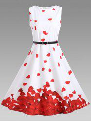 Printed Vintage A Line Dress - RED WITH WHITE