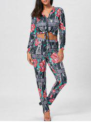 Cropped Floral Print Top and Pencil Pants