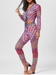 Bowknot Geometric Print Top and Pants -
