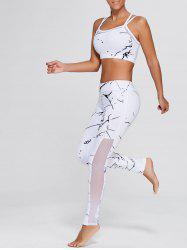 Straps Bra and Workout Mesh Panel Leggings