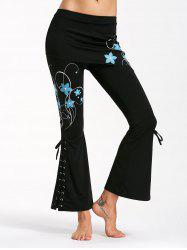 Criss Cross Bottom Flare Pants with Print - BLACK AND BLUE S