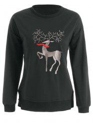 Plus Size High Low Elk Embroidered Top -