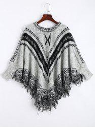 Jacquard Fringed Plus Size Poncho Sweater - GRAY