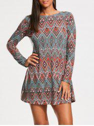 Tribal Rhombue Print Long Sleeve Tunic Dress - COLORMIX