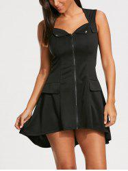 Zip Up Sleeveless Mini Dress - BLACK