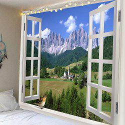 Window Landscape Waterproof Hanging Wall Tapestry -